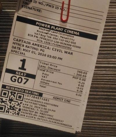 captain america ticket
