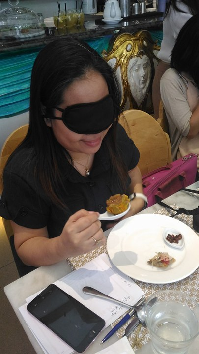 Blindfolded while tasting Quorn