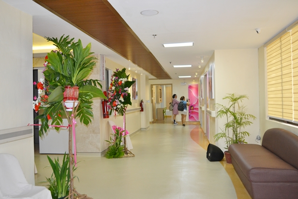 The hall is bright and happy and the colors of nature (green , pink and light brown) give that homey and calming effect to the place.