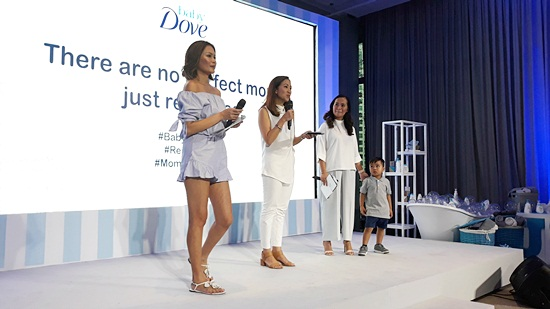 """Apples Aberin (Head of PR Dove) Janice Villanueva (Mommy Mundo Founder) and Tin Domingo (Baby Dove Brand Manager) communicates the message that """"There are no perfect women, just real ones."""""""